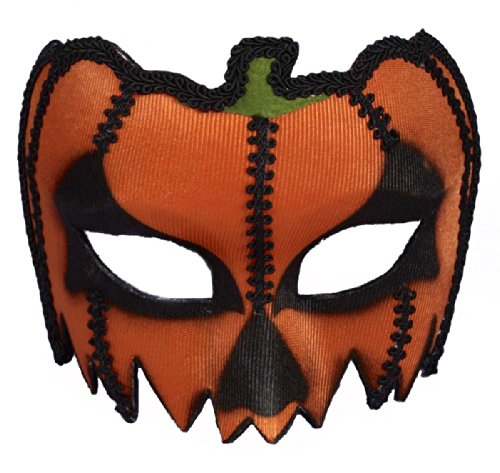 Forum Adult Scary Pumpkin Venetian Half Mask Costume Accessory