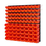 Set of 50 XS and 40 S size IN-Box storage bins and wall mounted louvre