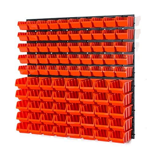 94-teiliges-Wandregal-Lagerregal-Werkzeugwand-Stapelboxen-Wandplatten-orange-POP-Serie-Gr1-Gr2-Werkstatt-Lager