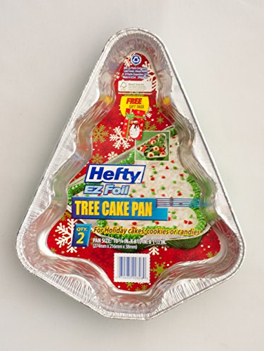 Hefty Ez-foil Christmas Tree Cake Pan Holiday Christmas Bakeware (10 3/4 Inches Tall) Pack of 4