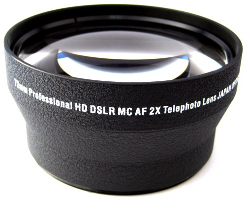 Zeikos Ze-2X72B 72Mm 2X Telephoto High Definition Lens, Includes Lens Pouch And Cap Covers (Life Time Warranty)