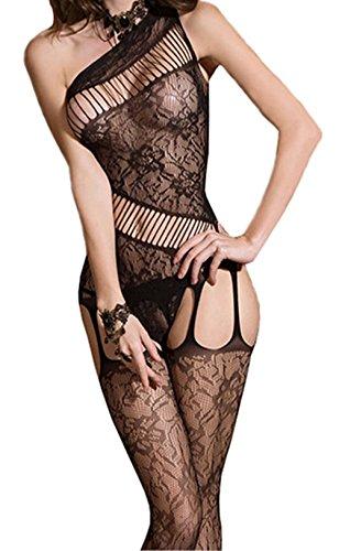 Demarkt Sexy Strapskleid Fishnet Bodystocking Catsuit durchbohrt Netz Body offen im Schritt Straps Reizwäsche Dessous Overall