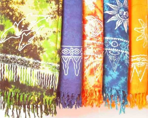 Sarong STAMPBATIK, Pareo, Hüfttuch, Wickelrock, Strandtuch verschiedene Farben, Farbe:hellgrün