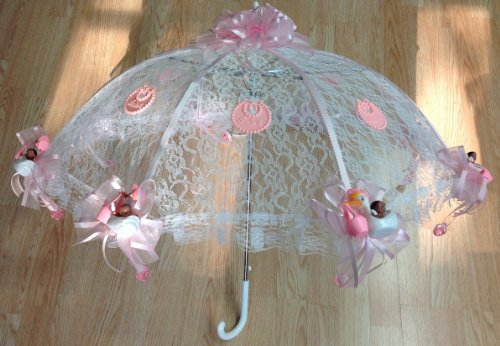 """36"""" White Lace Black Baby Babies Shower Umbrella Pink Ducks & Pacifiers front-987103"""