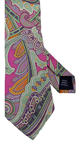 Polo Ralph Lauren Mens Silk Dress Tie Hand Made In Italy (Pink Multi, Paisley)