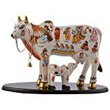 Pushpa Alloy Kamdhenu Cow (8 In X 4 In X 12 In, Multi-Coloured)
