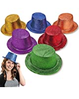 Adult's Glitter Plastic Top Hats (1 dz)