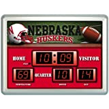20 NCAA University of Nebraska Huskers Scoreboard Wall Clock with Date and Temperature