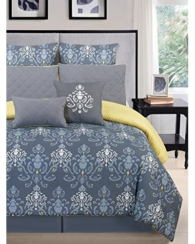 Duck River Lucienda 8 Piece Set Oversize, Over Filled Comforter Set, Grey/Green, King