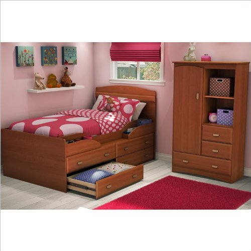 South Shore Imagine Kids Twin Captain's Bed 4 Piece Bedroom Set in Morgan Cherry Finish