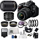 Nikon D5100 Digital SLR with 18-55mm f/3.5-5.6 AF-S DX VR Lens (Black) + Nikon 55-200mm f/4-5.6G ED IF AF-S DX VR Lens + Nikon 50mm f/1.8D AF Lens + .43x Wide Angle Lens, 2.2x Telephoto Lens, 3 Piece Filter Kit, 4 Piece Macro Close-up Lens Set, Tulip Lens Hood, Slave Flash, 16GB SD Memory Card, Replacement EN-EL14 Battery, Rapid Travel Charger, Mini HDMI Cable, Cleaning Kit and SSE Microfiber Cleaning Cloth coupon codes 2015
