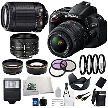 Nikon D5100 Digital SLR with 18-55mm f/3.5-5.6 AF-S DX VR Lens (Black) + Nikon 55-200mm f/4-5.6G ED IF AF-S DX VR Lens + Nikon 50mm f/1.8D AF Lens + .43x Wide Angle Lens, 2.2x Telephoto Lens, 3 Piece Filter Kit, 4 Piece Macro Close-up Lens Set, Tulip Lens Hood, Slave Flash, 16GB SD Memory Card, Replacement EN-EL14 Battery, Rapid Travel Charger, Mini HDMI Cable, Cleaning Kit and SSE Microfiber Cleaning Cloth coupons 2015
