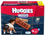 Huggies Little Movers Jean Diapers, Size 4, 60 Count