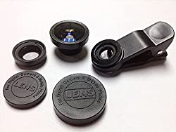 eShop24x7 BLACK 3-in-1 Universal Clip Photo Lens - Fish Eye, Macro & Wide Angle for iPhone Samsung HTC iPad Tablet PC Laptop