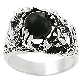 [AZ] Sterling Silver Men's Black Onyx Dragon Ring