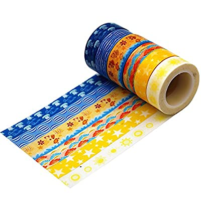 Wise Bird Beach and Ocean Design, Decorative Washi Tape Sticky Paper Masking Adhesive Tape, Fabric Tape, DIY Tape for Dairy, Photo Frame and Journal, Premium Value Pack for Art and Craft Gifts, 30ft/roll, Repositionable, Writable, Detachable, Set of 6