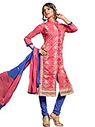Mindblowing Pink Coloured Embroidered Dress Material