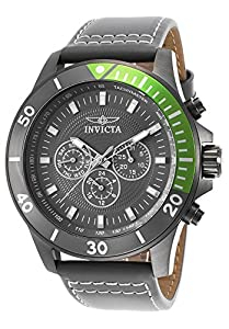 Invicta 21480 Men's Pro Diver Multi-Function Grey Leather Grey Dial Watch