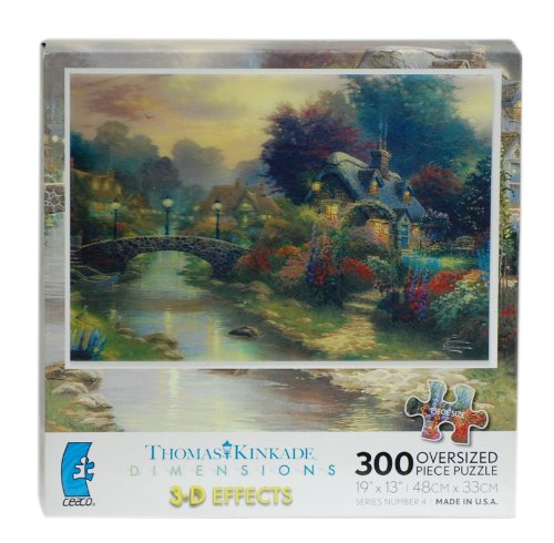 Thomas Kinkade DIMENSIONS 3-D EFFECTS Lamplight Bridge 300 Oversized Piece Puzzle