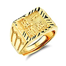 buy Geminis Chinese Character Kanji Good Luck Engraved Gold Men'S Ring Adjustable Size