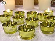 Gold Glass Tea Light Candle Holders -…