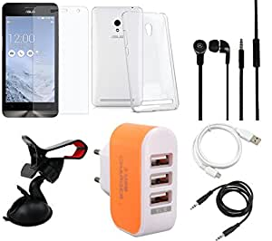 NIROSHA Tempered Glass Screen Guard Cover Case Headphone USB Cable Mobile Holder Charger for ASUS Zenfone 6 - Combo