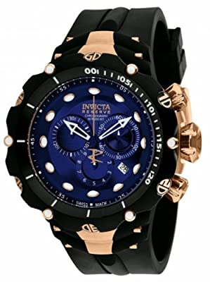 Invicta Men's 1525 Reserve Venom II Chronograph Blue Dial Black Polyurethane Watch