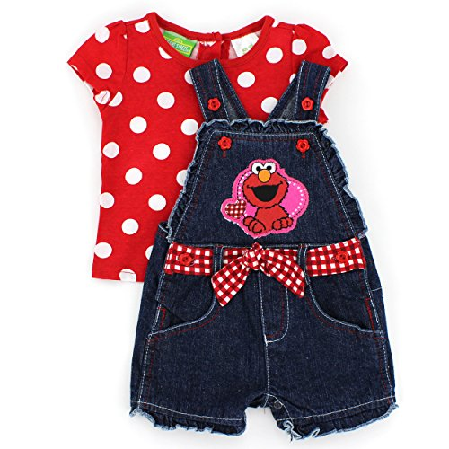 Sesame Street Baby-Girls Infant 2 Piece Elmo Dot Print Shortall Set, Chinese Red, 12 Months front-1061527