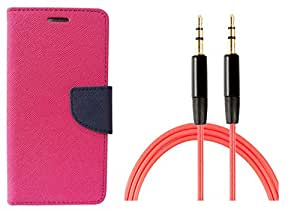 Novo Style Wallet Case Cover For XiaomiMi4i Pink + 3 feet Slim 3.5mm Music Record Stereo Audio Auxiliary AUX Cable Cord