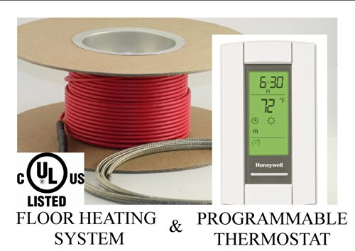 80 Sqft Cable Set, Electric Radiant Floor Heat Heating System With Aube Digital Floor Sensing Thermostat
