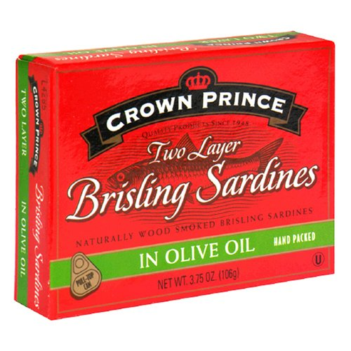 Crown Prince Brisling Sardines in Olive Oil, 3.75-Ounce Cans (Pack of 12)
