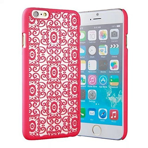 """""""6 Case, iPhone 6 Case -LUOLNH Carved Damask Vintage Pattern Matte Hard Case Cover For iPhone 6 4.7 inch (Not for iPhone 6 Plus) - red"""""""