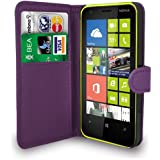 Nokia Lumia 620 Dark Purple Leather Wallet Flip Case Cover Pouch + Free Screen Protector