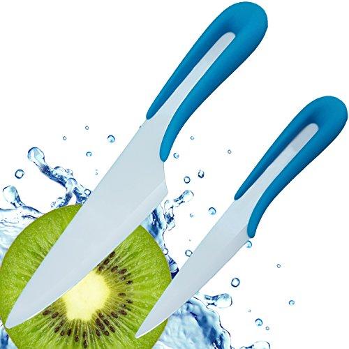 Ceramic Knife from Vesper's Kitchen - 2 piece Ceramic Knife Set - White Blade with Blue Designer U Shaped Ergonomic