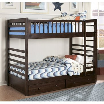 Homelegance Dreamland Bunk Bed In Rich Cherry - Twin Over Full W/ Storage Drawers