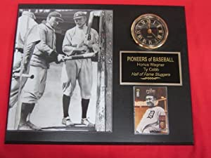 Honus Wagner Ty Cobb Collectors Clock Plaque w 8x10 RARE Photo and Card by J & C Baseball Clubhouse
