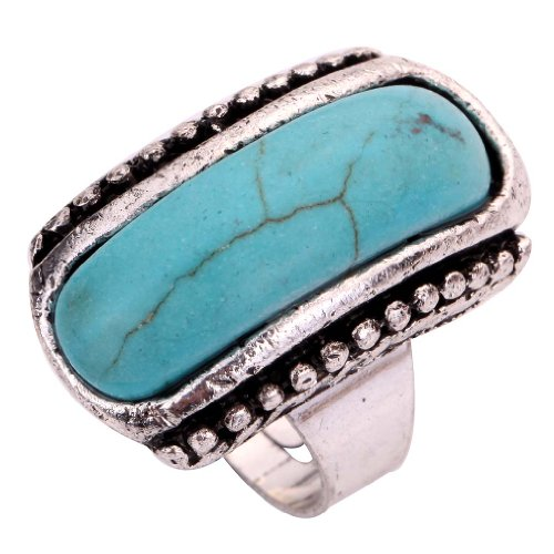 Yazilind Rimous Turquoise Tibetan Silver Striking Simplicity Elongated Adjustable Ring