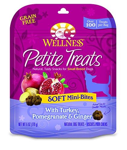 Wellness Petite Treats Small Breed Grain Free Turkey & Pomegranate Natural Soft Dog Treats, 6-Ounce Bag