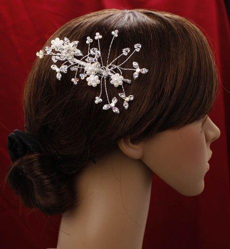 Bridal Prom Party Hair Flower Swaroski & White Pearls