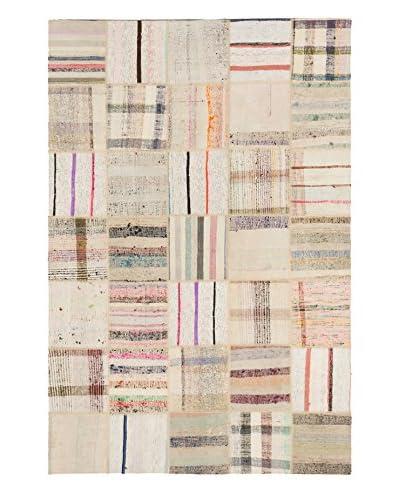 Hand Woven Anatolia Patch Cotton Kilim, Cream, 6' 4 x 9' 7