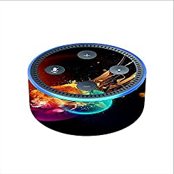 Skin Decal Vinyl Wrap for Amazon Echo Dot 2 (2nd generation) / colorful lion planets