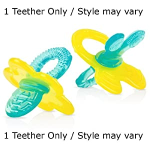 Nuby Chewbies Soft Silicone Teether, Promotes Transition from Nursing to Chewing (Yellow and Blue / Style may vary) from Nuby