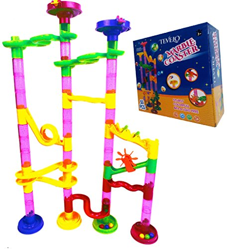 Marble-Run-Coaster-55-Piece-Set-with-40-Building-Blocks15-Plastic-Race-Marbles-Learning-Railway-Construction-TEVELO-DIY-Constructing-Maze-Toy-for-All-Family-Classic-Endless-Track-Design-Fun-Kit