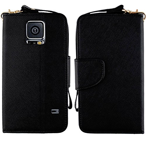 Mylife Jaguar Onyx Black - Professional Design - Koskin Faux Leather (Card, Cash And Id Holder + Magnetic Detachable Closing) Slim Wallet For New Galaxy S5 (5G) Smartphone By Samsung (External Rugged Synthetic Leather With Magnetic Clip + Internal Secure front-48454