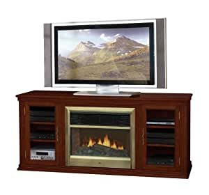 Flat Panel Flat Screen Tv Base With Electric Fireplace In Cherry Magnolia Home