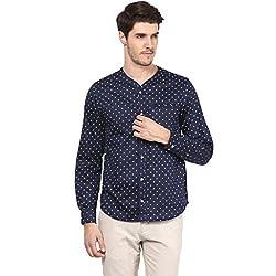 Atorse Mens Wheel Printed Navy Casual Shirt