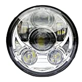 Signstek 5.75インチ45W ハーレーオートバイク用 プロジェクターDaymaker 9pcsOSRAM LEDチップヘッドライト IP67防水 for Harley Davidson 銀色