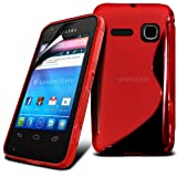 Fone-Case Alcatel One Touch S'Pop Protective Hydro S-line Wave Gel Skin Case Cover Pouch With LCD Screen Protection Guard (Red)