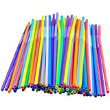 100 pcs Colorful Extra Long Flexible Bendy Party Disposabl Drinking Straws
