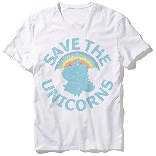 T-Shirt-Mixte-Save-the-Unicorns-Arc-en-ciel-et-licorne-chibi-et-kawaii-Fabriqu-en-France-Licence-officielle-Chamalow-shop